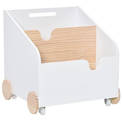 HOMCOM Kinderbücherregal mit Räder Bücherregal für Kinder Aufbewahrungsregal Spielzeugregal mit großem Stauraum MDF Kiefernholz Metall Kunststoff Weiß+Naturholz 40 x 43 x 43 cm