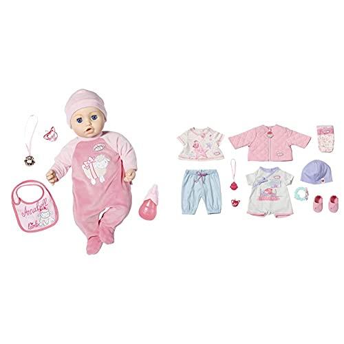 Zapf Creation 702475 Baby Annabell Puppe Annabell mit lebensechten Funktionen und Zubehör 43 cm, rosa & Baby Annabell Kombi Set Puppenkleidung 43 cm, 12-teiliges Set bestehend aus Puppen Jacke, Shirt