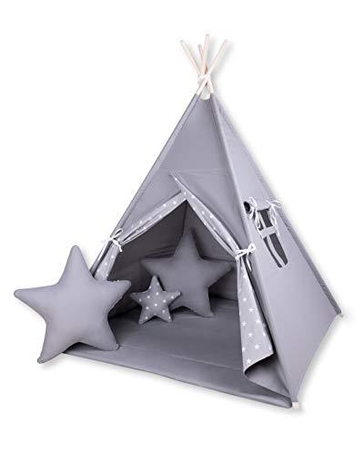 Amilian® Tipi Spielzelt Zelt für Kinder T45 (Spielzelt mit Tipidecke/mit 3 x Sternkissen)