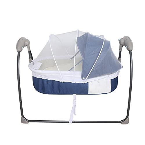 Elektrische Babywippe Wiege Babybett Babyschaukel Schlafbett Schlafvorhang 3 Gang +Musik 0-12 Monate Blau