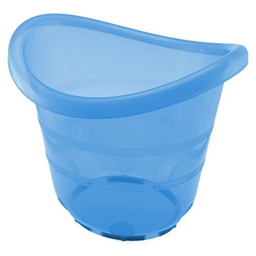 Bieco Badeeimer blau für Früh- Neugeborene und größere Babys bis ca 17 KG, Kunststoff schadstoffrei, kippsicher und rutschsicherr, 0 bis 12 Monate, ab Geburt, 79000062