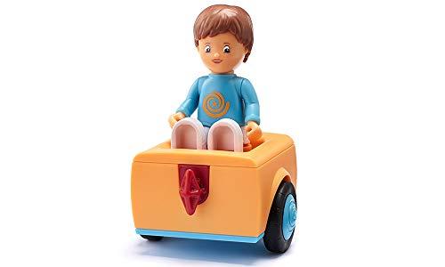 Toddys by siku 0201, Adam Addy, 1-teiliges Mittelteil mit Rädern, Zusammensteckbar, Inkl. Beweglicher Spielfigur, Orange/Hellblau, Ab 18 Monaten