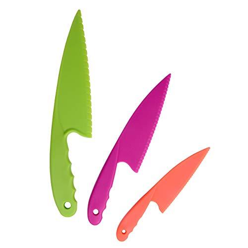 GarMills Kunststoff-Küchenmesser 3-teiliges Set in 3 Farben für Kinder, sichere Nylon-Kochmesser für Kinder, für Blattsalat, Salat, Kuchen.