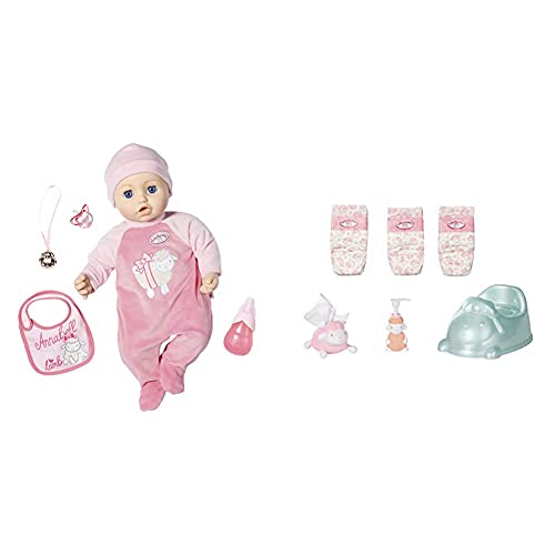 Zapf Creation 702475 Baby Annabell Puppe Annabell mit lebensechten Funktionen und Zubehör 43 cm, rosa & Töpfchen-Spielset für 43cm Puppe - Leicht für Kleine Hände, Kreatives Spiel fördert Empathie