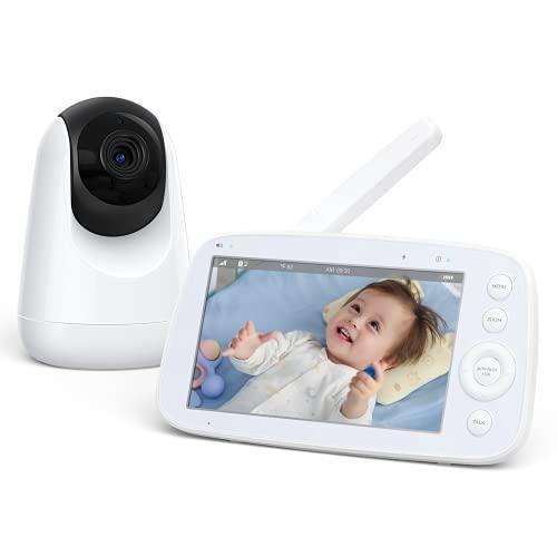 Babyphone mit Kamera 5 Zoll 720P IPS HD Display Video Baby Monitor, Nachtsicht, 110 ° Weitwinkel, 300M Reichweite, Temperatursensor Zwei Wege Audio, 4500 mAh Akku, EIN-klick-Zoom Funktion