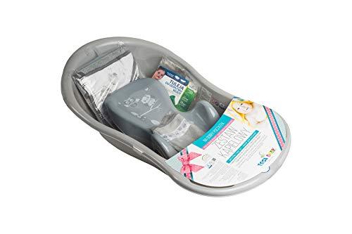 Tega Baby ® SET 5-teilig Badewanne Badesitz für Baby, ab 0 Monate mit eingebautem Thermometer - Anti-rutsch, GESCHENK für Neugeborene (allein, Eule - grau)