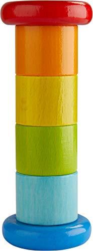HABA 304817 - Regenmacher Farbenfroh, Baby-Spielzeug mit Rassel-Effekt in Regenbogenfarben, Holzspielzeug ab 6 Monaten