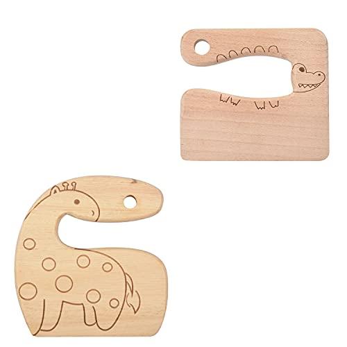 Duyifan 2Pc Kindermesser aus Holz zum Kochen, Kindersichere Messer, Küchenwerkzeuge für Kleinkinder, Zerkleinerer, Schneiden von Obst und Gemüse (Süße Giraffen- und Krokodilform)