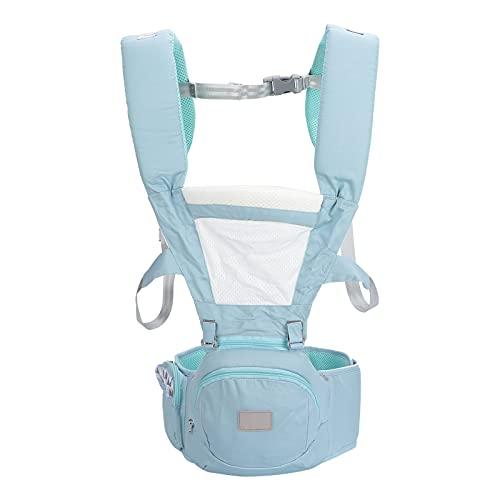 Baby-Hüftsitz Verstellbarer Atmungsaktiver Freisprech-Babytrage Babytrage Kleinkinder Ergonomischer Verdickung Hüftsitz für Neugeborene(Blau)