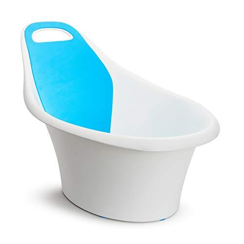 Munchkin Sit and Soak Baby-Badewanne mit integrierter Sitzstütze und gepolsterter Rückenlehne, Ablaufstöpsel und Haken zum Aufhängen, 0-12 Monate