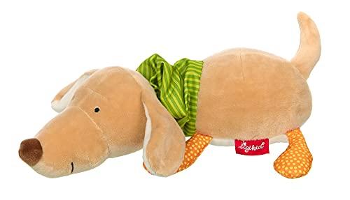 SIGIKID Mädchen und Jungen, Aufzieh-Spieluhr Hund PlayQ, Melodie LaLeLu, empfohlen ab 0 Monaten, beige/grün, 42628