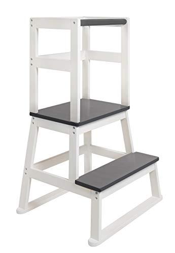 BOMI® Kinder Tritthocker mit 2 Stufen Swubi | Treppchen für Kinder in Grau | Stockerl für Kind & Baby aus Holz | Schemel, Hocker Kinder | Kinderhocker für Mädchen & Jungen