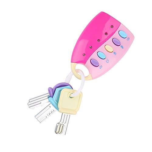 Babyschlüssel Autoschlüssel Lernspielzeug,Spielzeugschlüssel mit Sound und Licht für Babys und Kleinkinder Bildung Spielzeug(Rosa)