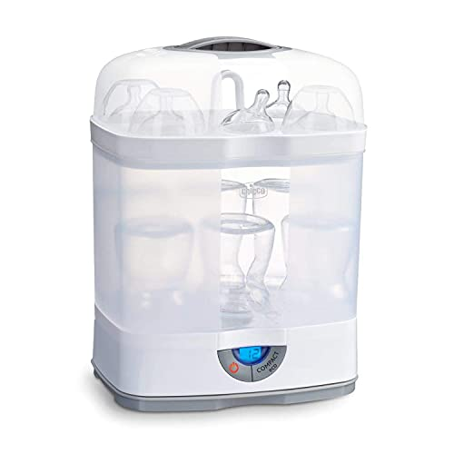 Chicco SterilNatural 3 in 1 Babyflaschen-Sterilisator, Einstellbarer Dampfsterilisator für Babyflaschen, für Mikrowelle, mit 3 Konfigurationen, Schnelle und Einfache Anwendung, 6 x 330ml Babyflaschen