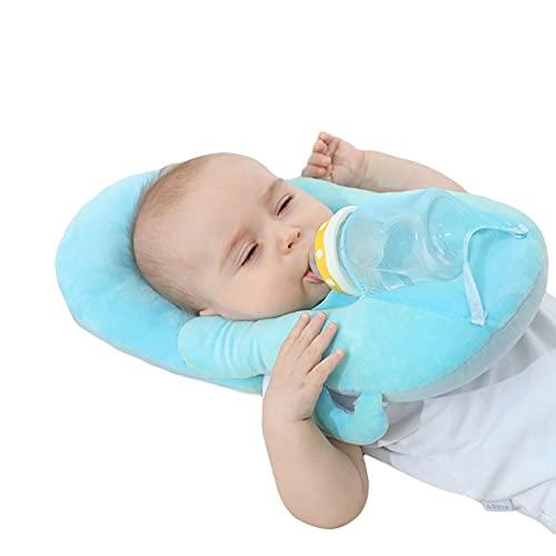 Qtinghua Baby Stillkissen mit Doppelohren, U-förmige Feste Babyflasche Zubehör zur Linderung von Müdigkeit (Style 1-Blue, One Size)