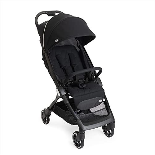 Chicco We Kinderwagen, faltbar, ultraleicht, von 0 Monaten bis 22 kg, neigbarer Reisebuggy, mit Schlafposition, gepolsterte Schultergurte, kompakt, Schutzhülle und Regenschutz – Schwarz