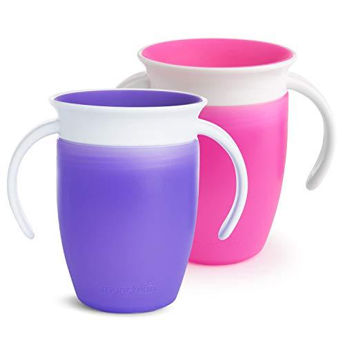 Munchkin Miracle 360ᵒ Trinklernbecher mit Griffen, auslaufsicher, ab 6 Monaten, violett/rosa, 207 ml (2er Pack)
