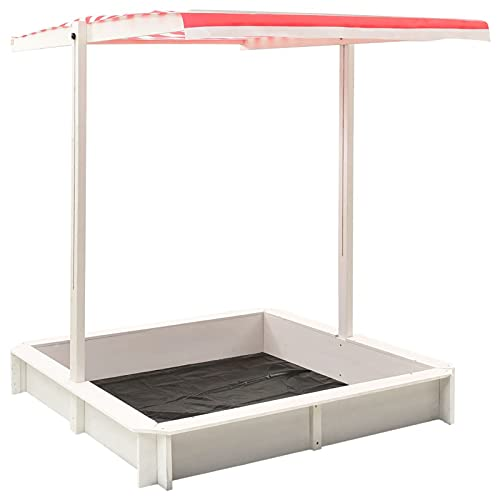 Tidyard Tannenholz Sandkasten mit Verstellbarem Dach Sandbox Sandkiste Holzsandkasten Holzsandkiste Kinder Spielzeug Weiß Rot UV50 118x118x140cm Mit Montagematerialien