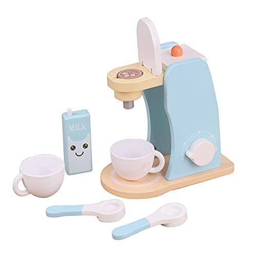 PIANAI Kinder-Kaffeemaschine Spielzeug,Kinderküchen-Spielset,elektronische Vortäuschung Kaffeemaschine mit Becher und Kaffeekapseln,Holz Deluxe Spielküchen-Set mit Zubehör 6-teilig,Kleinkindküche