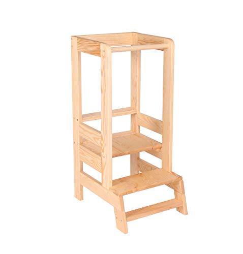 Angelove Lernturm für Kinder Learning Tower Schemel aus Holz Helferturm Küchenhelfer Lernstuhl Montessori Küche Kindermöbel Kitchen Helper Stehhocker Natur Transparent Made in EU