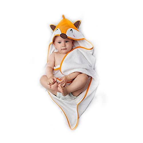 Baby Badetuch Mädchen und Junge - Kapuzenhandtuch Baby 100% Bio Baumwolle , Oeko TEX Zertifizierung, Ohne Chemikalien - Babyhandtuch mit Kapuze 70x70 cm, 0 - 12 Monate - Orange