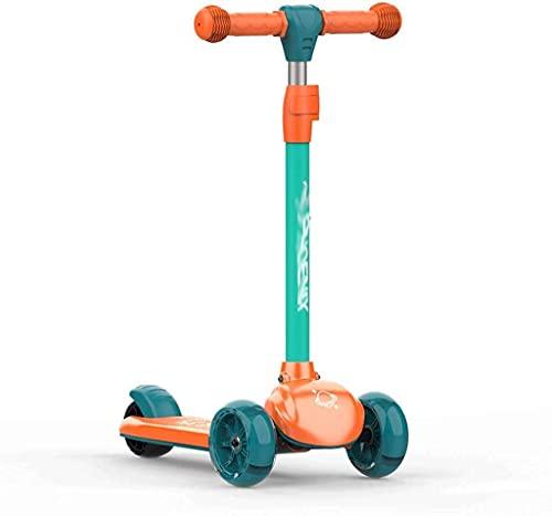 FFVWVGGPAA Kinder Scooter Höhenverstellbare Tretroller 3 Höhenverstellbare Tretroller Stunt Scooter Pedal Sliding, Kinderroller Spielzeug F00810(Color:Green)
