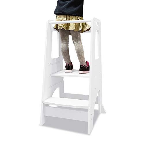 NA/Learning Tower, Küchenhocker für Kinder Lernen aus Holz, Höhenverstellbare Kinder-Hochstand, Kinderhochstuhl als Tritthocker für Küchentheke von 1-3 Jahre (Weiß)