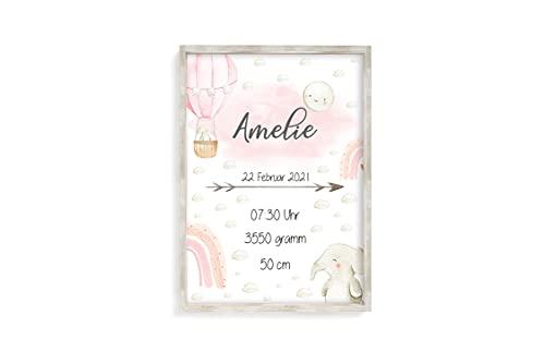Geburtsanzeige Geburtsdaten Geburtsposter Poster Personalisiert Geburt Geschenk Geburtsbild Baby Kunstdruck mit Namen A4 (Mädchen)