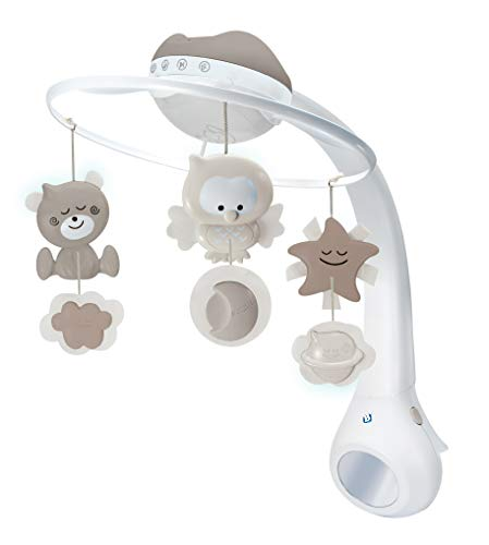 Infantino 3-in-1 Projector Musical Mobile in Grau – Mobile, Tisch- & Kinderbettlampe und Sternprojektor für Babys – Mit beruhigenden Melodien und Naturgeräuschen