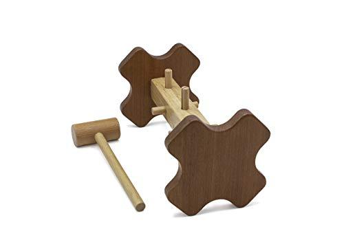 klopfspiel Holz Klopfbank mit Hammer, 5X Klopfbausteine, hochwertig Klopfbank Robustes Hammerspiel, ab 12 Monate Kinder Madchen Montessori Holzspielzeug