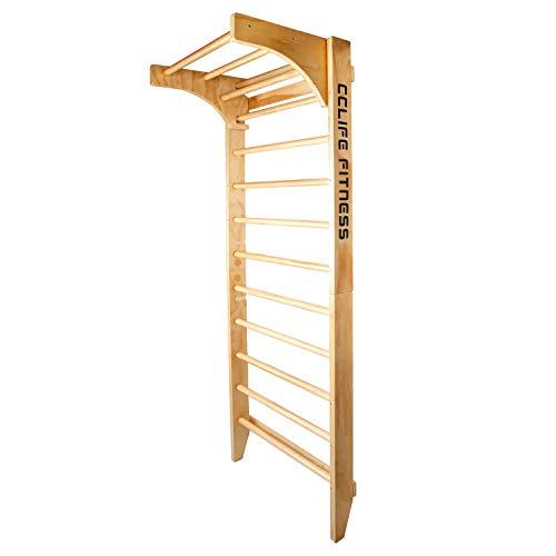 CCLIFE Sprossenwand Kletterwand Turnwand höhenverstellbare Klimmzugstange Klettergerüst Holz Kinder Indoor Erwachsener, Farbe:Sprossenwand mit Klimmzugstange