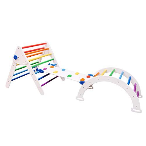 Woodandhearts Set von 3 Dreieck für Kinder Kleinkinder Rock mit Rampe – Montessori Kletterleiter Rutsche – Lernen Waldorf Kletterbogen für Kleinkinder Weiß + Regenbogen (Standardgröße)
