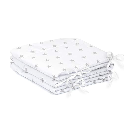 Amilian Bettumrandung Nest Kopfschutz Nestchen 420x30cm, 360x30cm, 180x30 cm Bettnestchen Baby Kantenschutz Bettausstattung Sternchen weiß (A3) (180x30cm)