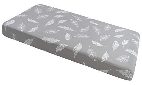 Spannbettlaken Spannbetttuch 60x120cm 100% Baumwolle Baby Bettwäsche Medi Partners Babymatratze schlafsack Kinderbett Babybett (graue Blätter)
