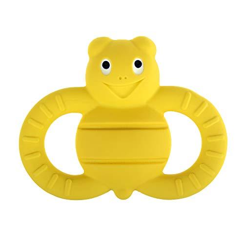 MAM Friend Ellie the Bee Entwicklungsspielzeug, Baby Spielzeug aus Naturkautschuk, besonders weicher Greifling zum Ertasten, ab 3+ Monaten, gelb