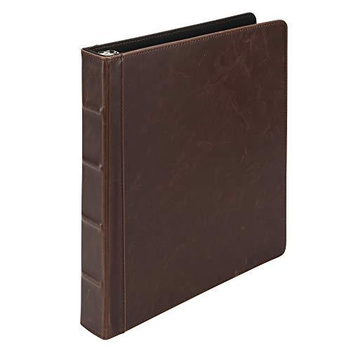 Samsill Vintage Brown Rezeptbuch 21,6 x 27,9 cm, 3-Ring-Rezept-Kochbuch, hält alle Ihre Rezepte und Rezeptkarten, 2,5 cm Ringe, Kunstleder Optik und Haptik von antikem Leder