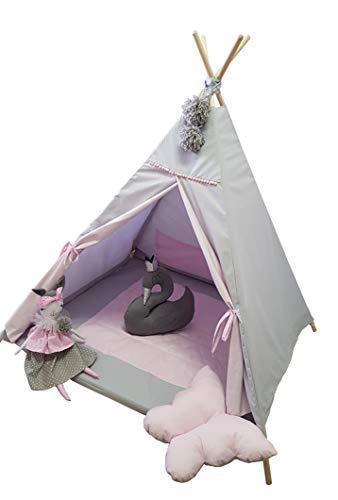 Golden Kids Kinder Spielzelt Teepee Tipi Set für Kinder drinnen draußen Spielzeug Zelt Indianer Indianertipi mit Fenster usw. Tipi mit und ohne Zubehör (mit Zubehör, Puppe)