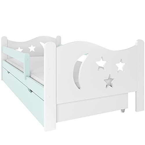 NeedSleep® Rausfallschutz Kinderbett Komplett 80x140 80x160 80x180 Bett Lattenrost Schublade I Kinder ab 2 Jahren   Mädchen Junge I Montessori Kinderzimmer (80 x 160 cm, Mint)