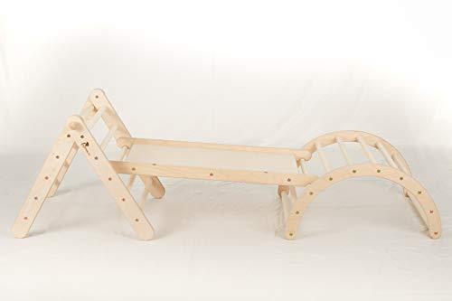 Zickenling Set verstellbares Kletterdreieck mit Rutsche und Bogen   Indoor Klettergerüst Kinder ab 10 Monate   100% Öko Produkt