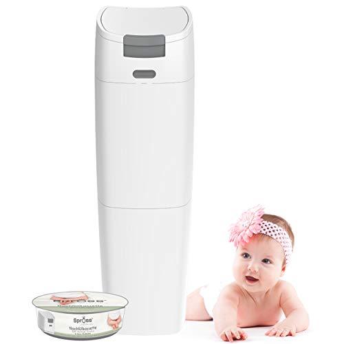 SPROSS Baby Windeleimer inkl. Nachfüllkassette - geruchsdichtes System mit Einhandbedienung - Mülleimer für Baby Windeln