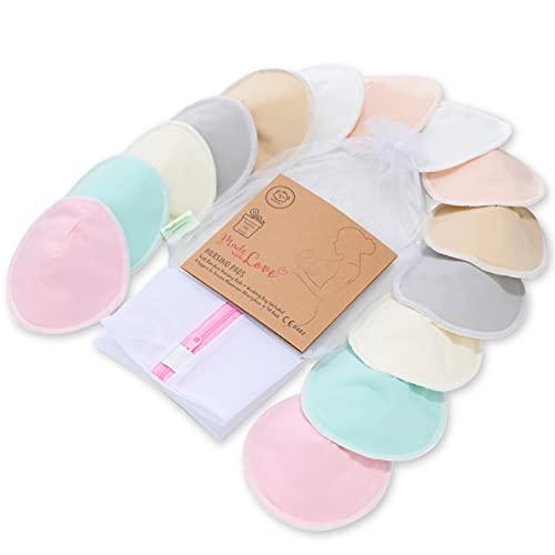 Bio-Bambus-Stilleinlagen - 14 waschbare Einlagen + Wäschebeutel - Wiederverwendbare Stilleinlagen für die Mutterschaft (Pastel Touch, Large, 4.8')