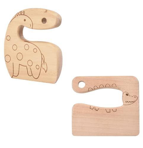 Duyifan 2 Stück Kindermesser aus Holz zum Kochen, Montessori-Küchengeräte für Kleinkinder, Kinderkochmesser zum Schneiden von Gemüsefrüchten, süße Kinderküchengeräte - 2 Muster