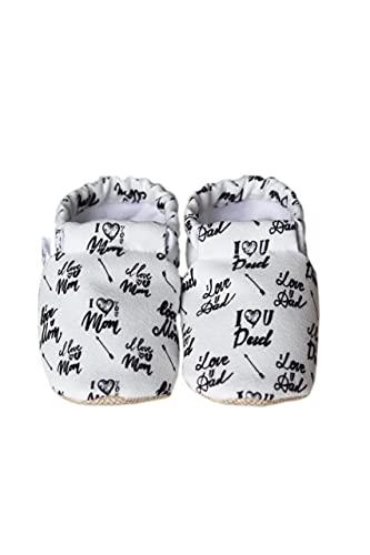 Weicher Stoff Lauflernschuhe Krabbelschuhe Babyhausschuhe Junge Mädchen Kleinkind 0-6 Monate 6-12 Monate 12-18 Monate 18-24 Monate (18, White Dad/Mom, numeric_18)