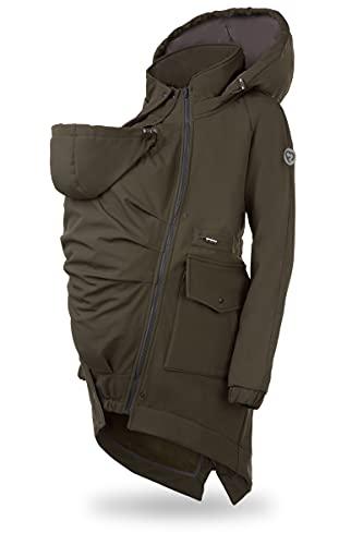 FUN2BEMUM 5in1 PARKA Softshell Mantel, ,Coat ,Umstandsjacke, FRONT / BACK Baby Tragejacke, Multifunktion KHAKI (XL)
