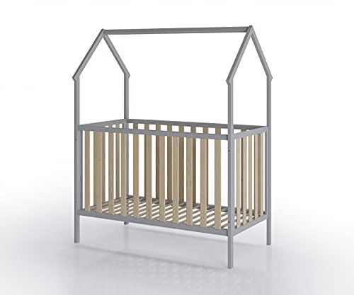 FabiMax Kinderbett Schlafmütze, 60 x 120 cm, grau/Natur
