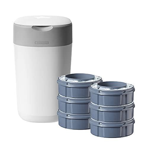 Tommee Tippee Twist and Click Advanced Windeleimer Starter Set, umweltfreundliches System mit 6x Nachfüllkassetten mit nachhaltig gewonnenem antibakteriellem GRÜNFILM