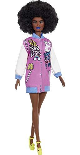 Barbie GRB48 - Fashionistas Puppe mit Letterman Jacke, Spielzeug für Kinder von 3 bis 8 Jahren