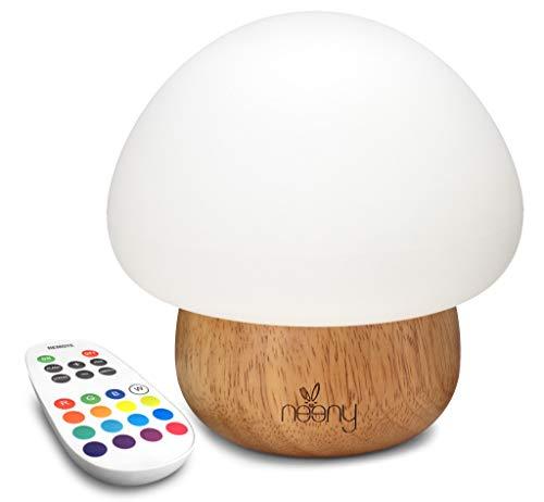 Neeny Baby Nachtlicht in 16 Farben Fernbedienung Pilz LED Holz Einstellbare Helligkeit & RGB Farben USB Silikon Kinder Baby Tisch Nachttisch Schlafzimmer Lampe