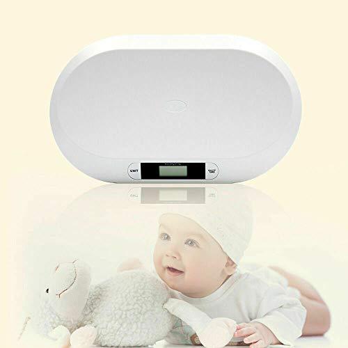 Digital 20KG Kinderwaage Babywaage Stillwaage Tierwaage mit Tarafunktion Säuglingswaage Gewicht LCD Badezimmer - leicht abwischbar - Weiß