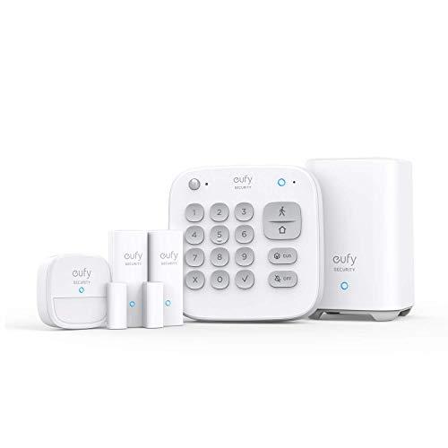 eufy Security 5-teiliges Smart Home Set, Sicherheitssystem mit Bewegungssensor, 2 Diebstahl-Sensoren, mit App, kompatibel mit eufyCam, Steuert andere HomeBase Überwachungsgeräte (Generalüberholt)